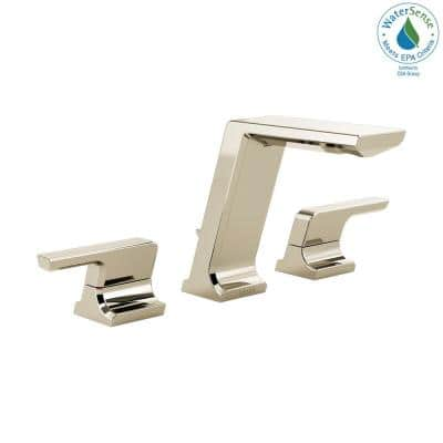 Pivotal 8 in. Widespread 2-Handle Bathroom Faucet with Metal Drain Assembly in Polished Nickel