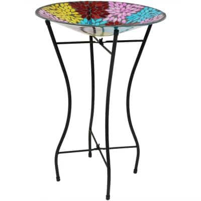 14 in. Mosaic Petals Glass Bird Bath Bowl with Stand