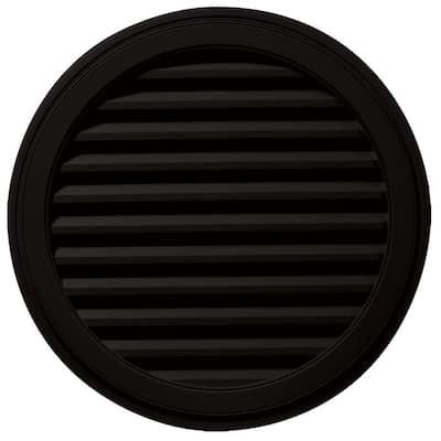 36 in. x 36 in. Round Black Plastic UV Resistant Gable Louver Vent