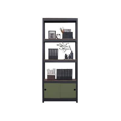 "Kepsuul 32"" W x 16"" D x 77"" H Black Four Shelf + 1 Dark Green Door Customizable Modular Wood Shelving & Storage"