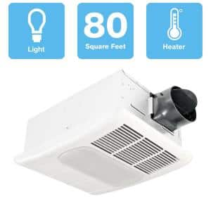 Radiance Series 80 CFM Ceiling Exhaust Bathroom Fan with Dimmable LED Light and Heater