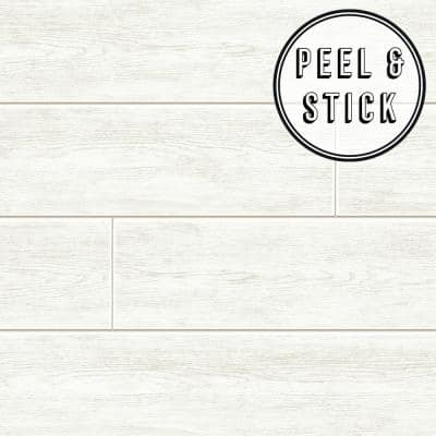 Wood Plank White Vinyl Peelable Roll (Covers 30.75 sq. ft.)