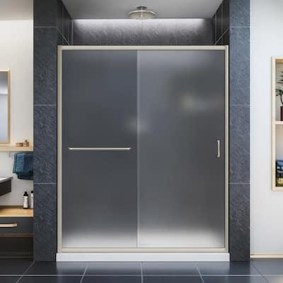 Infinity-Z 56 to 60 in. x 72 in. Semi-Semi-Frameless Sliding Shower Door in Brushed Nickel