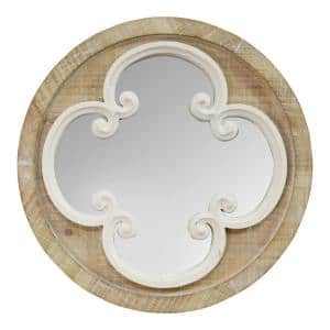 Small Novelty Natural Wood White Casual Mirror (13.78 in. H x 13.78 in. W)