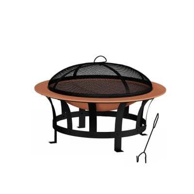 30 in. W x 20 in. H Round Steel Wood Burning Outdoor Deep Fire Pit in Copper/Black with Grilling Grate
