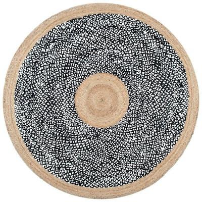 Lesha Natural Fiber Jute Black 8 ft. x 8 ft. Round Rug
