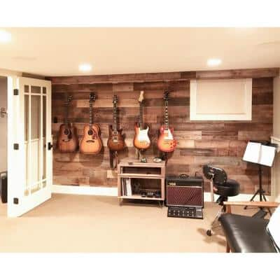 Reclaimed Barn Wood Brown Natural 3/8 in. T x 5.5 in. W x Varying Length Solid Hardwood Wall Plank (20 sq. ft. / case)