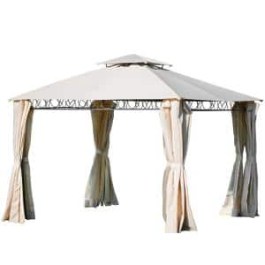 Classical Quality Double Tiered Grill Canopy Outdoor BBQ Gazebo Beige Tent with UV Protection
