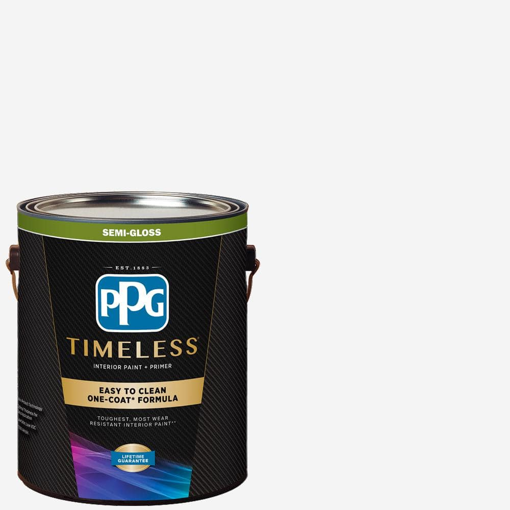 Ppg Timeless 1 Gal Pure White Base 1 Semi Gloss Interior Paint With Primer Ppg83 510 01 The Home Depot