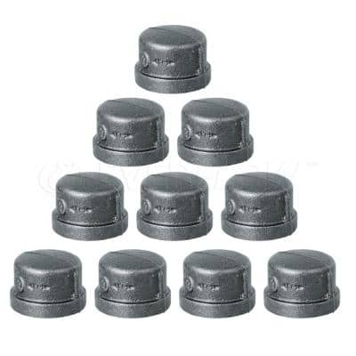 1/2 in. x 1 in. L Malleable Iron Pipe Cap, Threaded Fitting 150 lbs. Application Black Pipe Cap (10-Pack)