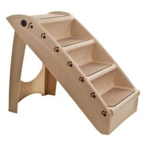 Tan Foldable Pet Stairs - Non-Slip 4 Step Ramp for Dogs, Cats, and Puppies