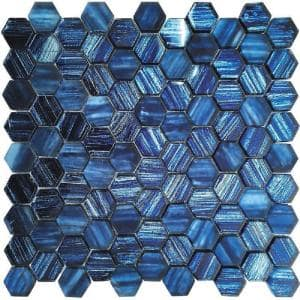 Blue 11.3 in. x 11.3 in. Hexagon Polished Glass Mosaic Tile (4.43 sq. ft./Case)