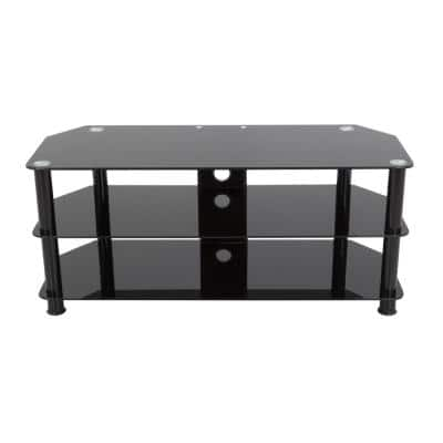 39 in. Black Glass TV Stand Fits TVs Up to 55 in. with Open Storage