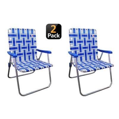 Blue/White Reinforced Aluminum Classic Webbed Folding Lawn/Camp Chair (2-Pack)