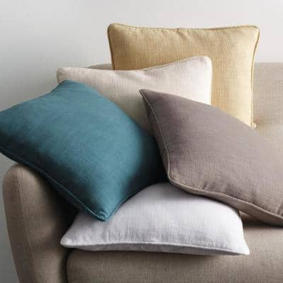 Concord Cotton Twill Shale Solid 6 in. x 15 in. Neck Roll Throw Pillow Cover
