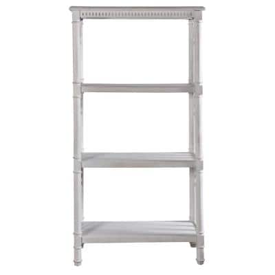62 in. White Wood 4-shelf Accent Bookcase with Open Back