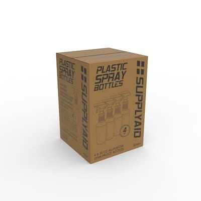 32 oz. All-Purpose Leak-Proof Plastic Spray Bottles with Adjustable No-Leak, Non-Clogging Nozzle (4-Pack)