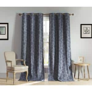 Slate Floral Thermal Blackout Curtain - 54 in. W x 84 in. L (Set of 2)