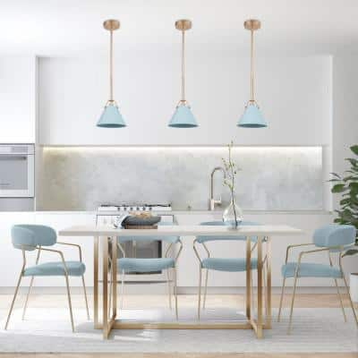 Modern Industrial 1-Light Blue Bell Kitchen Island Pendant with Gold Accents Dining Room Ceiling Light Fixture