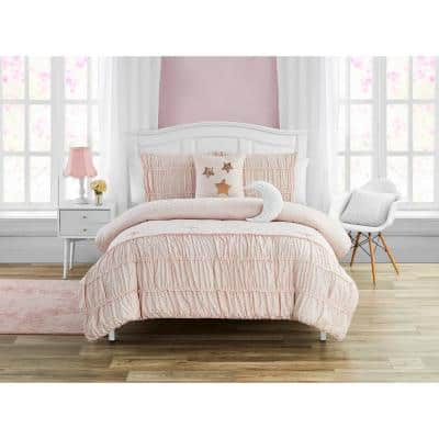 Pink Celestial Princess Metallic Foil 5-Piece Comforter Set