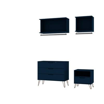 Rockefeller 4-Piece Tatiana Midnight Blue Full Open Closet Wardrobe Set