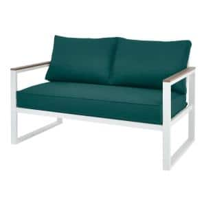 West Park White Aluminum Outdoor Patio Loveseat with Malachite Green Cushions
