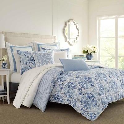 Mila 3-Piece Blue Geometric Cotton Full/Queen Duvet Cover Set