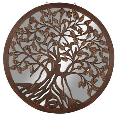 48 in. x 48 in. Round Brown Wall Art Mirror with Wood Carved Tree Center
