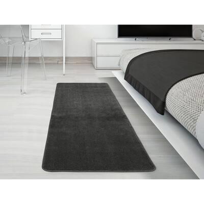 Solid Design Gray 1 ft. 8 in. x 4 ft. 11 in. Non-Slip Bathroom Rug Runner