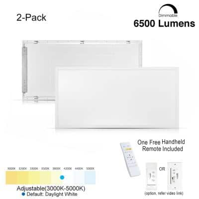2 ft. x 4 ft. White Commercial 6500 Lumens Backlit Dimmable CCT Color Ceiling Integrated LED Panel Light Troffer(2-Pack)