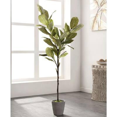 Artificial Magnolia Tree 51.2 in. Gray Cement Pot