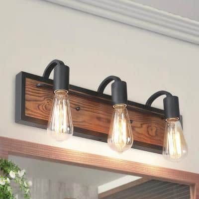 Rustic Bathroom Vanity Light Wayner 3-Light Matte Black Wood Vanity Light Modern Industrial Water Pipe Wall Sconce