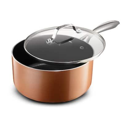 2.5 Qt. Copper Cast Textured Surface Aluminum Non-Stick Saucepan with Lid