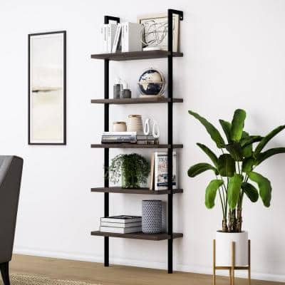 Theo Dark Walnut Brown 5-Shelf Ladder Bookcase or Bookshelf with Black Metal Frame