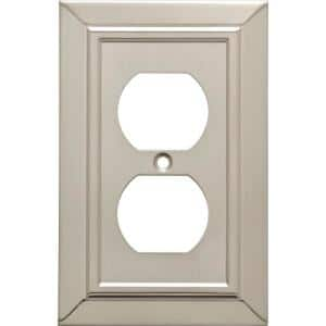 Classic Architecture Satin Nickel Antimicrobial 1-Gang Duplex Wall Plate (4-Pack)