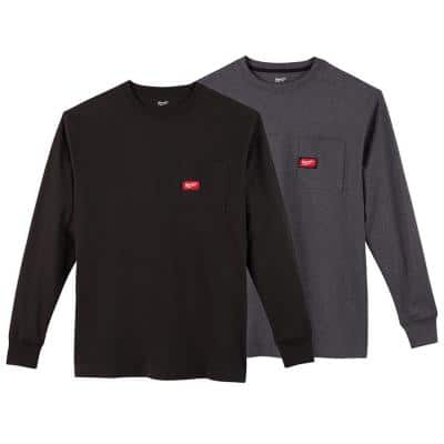 Men's Large Black and Gray Heavy-Duty Cotton/Polyester Long-Sleeve Pocket T-Shirt (2-Pack)