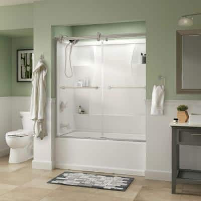 Lyndall 60 x 58-3/4 in. Frameless Contemporary Sliding Bathtub Door in Nickel with Clear Glass