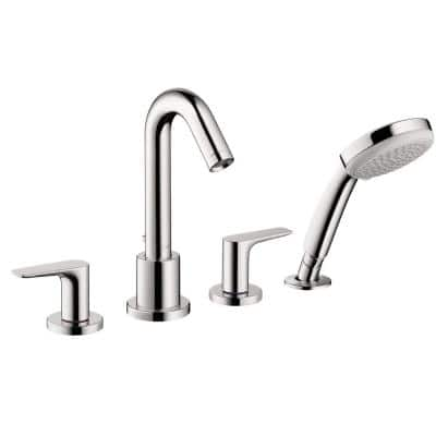 Logis 2-Handle Deck Mount Roman Tub Faucet with Hand Shower in Chrome
