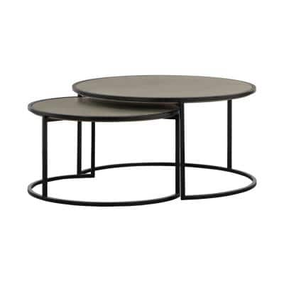 Rina Concrete and Black Metal 2-Piece Nesting Coffee Table Set