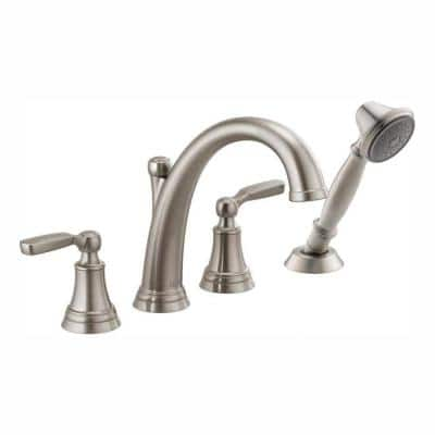 Woodhurst 2-Handle Deck Mount Roman Tub Trim Kit with Hand Shower in Stainless (Valve Not Included)