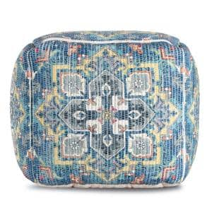 20 in. x 20 in. x 20 in. Cosmic Charlie Blue and Yellow Pouf
