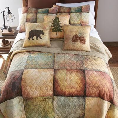 Wood Patch 2-Piece Brown Cotton Twin Quilt Set