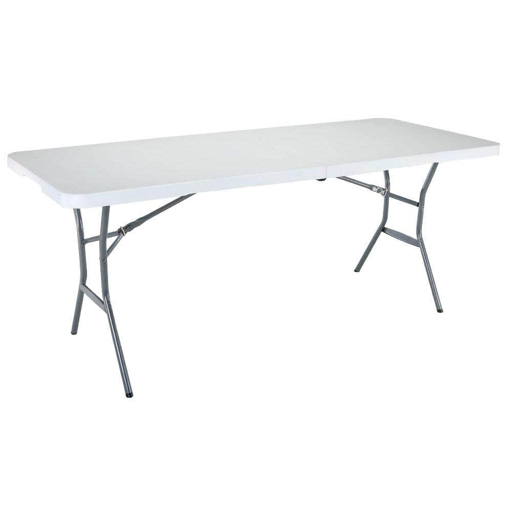 Lifetime 72 In White Plastic Portable Fold Half Folding Banquet Table 25011 The Home Depot