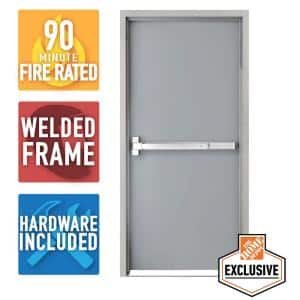 36 in. x 80 in. Fire-Rated Gray Right-Hand Flush Steel Prehung Commercial Door and Frame with Panic Bar and Hardware