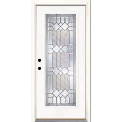 37.5 in. x 81.625 in. Mission Pointe Zinc Full Lite Unfinished Smooth Right-Hand Inswing Fiberglass Prehung Front Door
