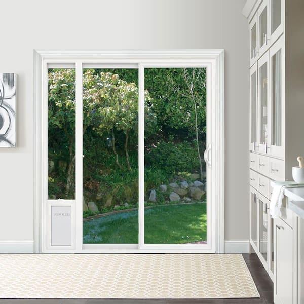 Jeld Wen 72 In X 80 In White Left Hand Vinyl Patio Door With Low E Argon Glass And Large Pet Door Sierra Le 6068 Lpdp Lh The Home Depot