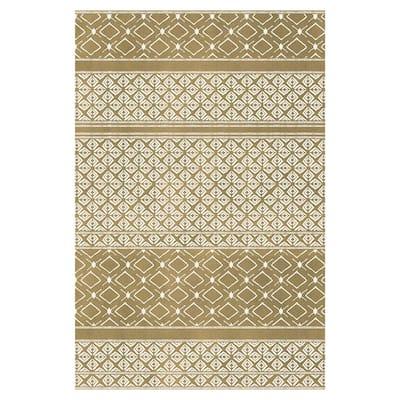 Striped Mudcloth Gold 1 ft. 8 in. x 2 ft. 6 in. Indoor/Outdoor Vinyl Floor Rug