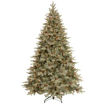 7-1/2 Feel Real Frosted Artic Spruce Hinged Artificial Christmas Tree with Cones and 750 Clear Lights