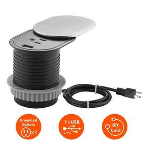 1-Power Outlet Space Saver Grommet Socket 1 USB Port 2.4 Amp Splash Resistant in Stainless-Steel