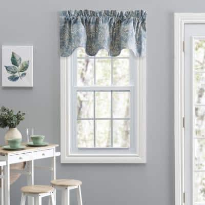Lexington Leaf 15 in. L Cotton/Polyester Lined Scallop Valance in Blue